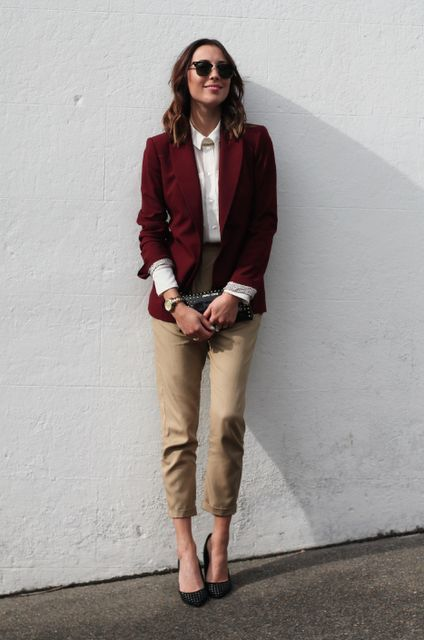 cropped camle pants, a white button down, a burgundy blazer, black shoes and a studded clutch