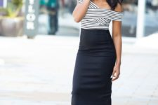 14 a black pencil midi skirt, a striped off the shoulder top, black heels for a retro chic look