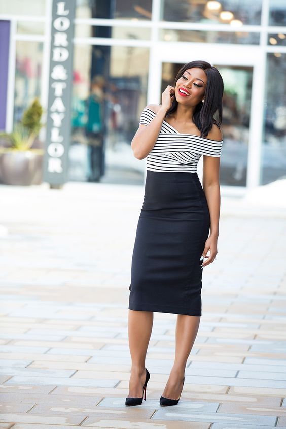 a black pencil midi skirt, a striped off the shoulder top, black heels for a retro chic look