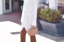 14 a long tie blouse, camel pants, nude heels and a nude bag for work