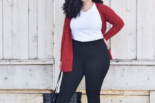 14 a white tee, black leggings, a grey bag, white sneakers and a red cardigan for a casual look
