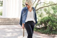 14 black pants, a white top, a denim jacket, black shoes and an embellished clutch