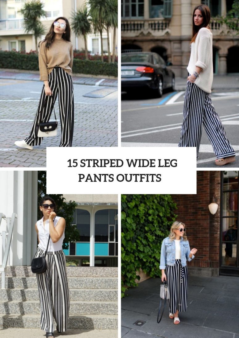 15 Feminine Outfits With Striped Wide Leg Pants