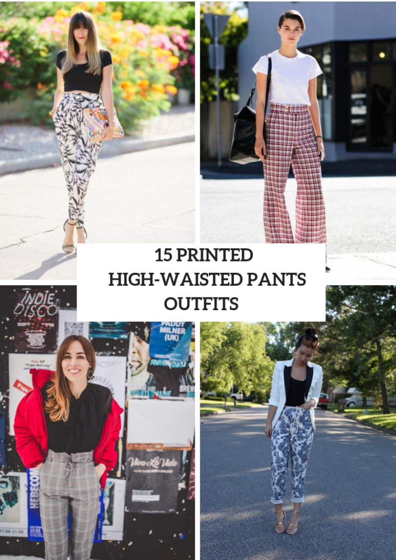 Printed High Waisted Pants Outfits