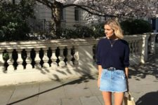 15 a denim mini, a slouchy navy jumper, nude and black slingbacks and a nude bag