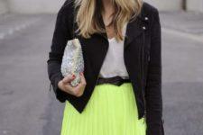 15 a white tee, a neon green pleated mini, a black denim jacket