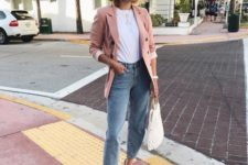 15 blue boyfriend jeans, a white tee, nude shoes, a dusty pink blazer and a woven bag