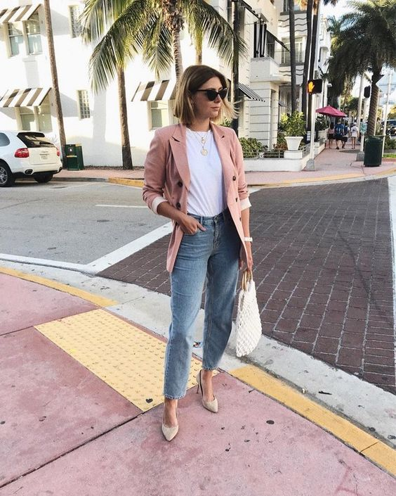 blue boyfriend jeans, a white tee, nude shoes, a dusty pink blazer and a woven bag