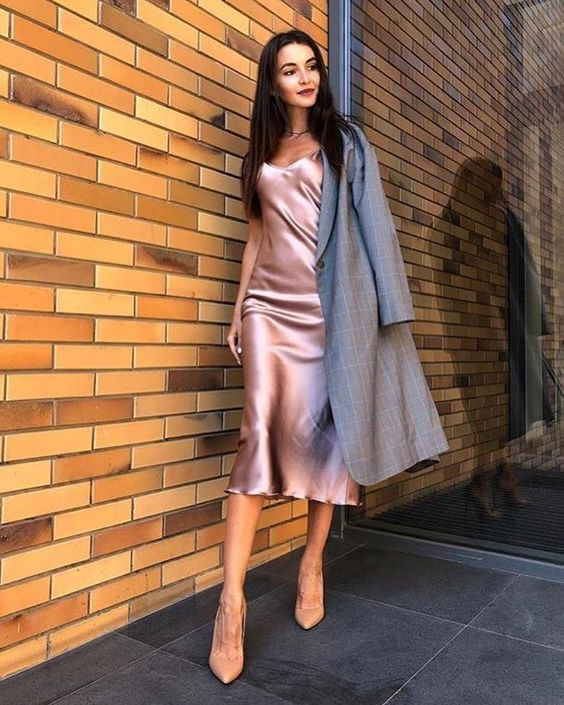 a pale pink slip midi dress, nude shoes and a grey trench in case it gets colder