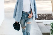16 blue ripped jeans, a white tee, a blue printed blazer, heels and a small velvet bag