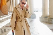 16 style an oversized trench with cropped jeans and a white shirt plus moccasins