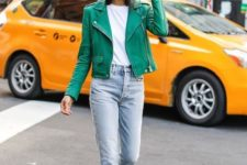 17 leopard print booties, blue jeans, a white tee, a green leather jacket for a bright touch