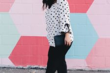 With black cropped trousers, black clutch and red shoes