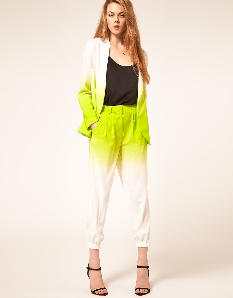 With black top, ombre trousers and ankle strap shoes