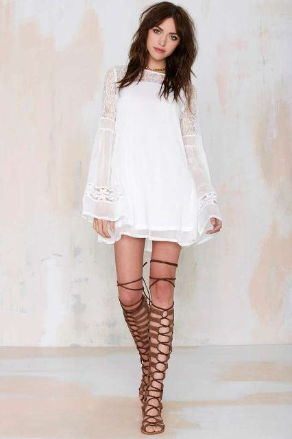 With brown lace up sandals
