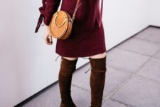 With brown leather rounded crossbody bag and marsala suede over the knee boots