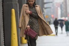 With camel coat, marsala clutch and shoes