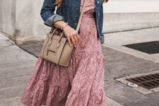 With denim jacket, beige leather crossbody bag and flats