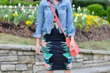 With denim jacket, red bag and high heels