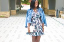 With denim jacket, white clutch and gray sandals