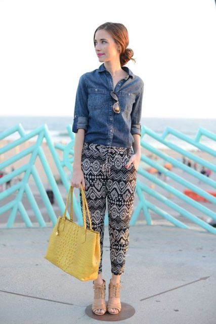 With denim shirt, yellow tote bag and beige cutout shoes