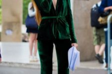 With emerald velvet blazer and orange and brown shoes