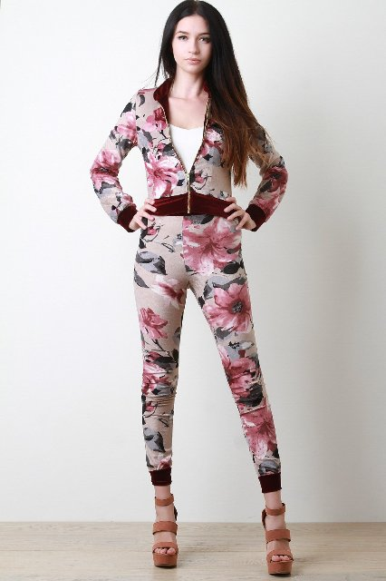With floral jacket, white top and brown platform sandals