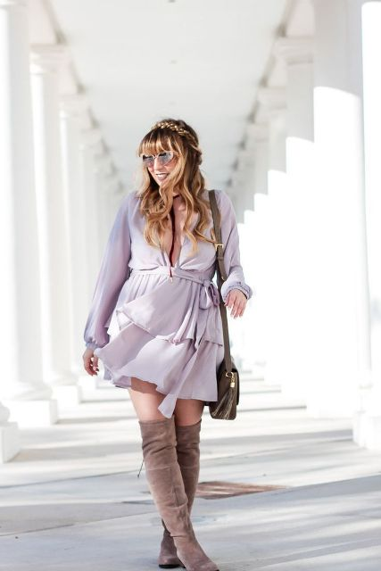 With gray suede over the knee boots, leather bag and sunglasses