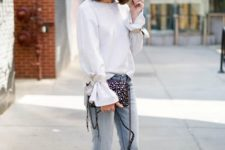 With jeans, embellished clutch and white pumps