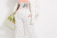 With labeled t-shirt, polka dot blazer, bag and high heels