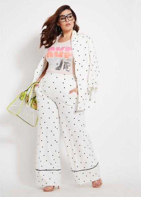 With labeled t shirt, polka dot blazer, bag and high heels