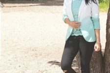 With lace blouse, distressed jeans and sunglasses