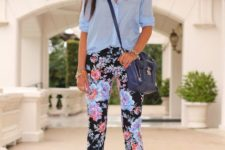 With light blue button down shirt, navy blue crossbody bag and ankle strap shoes