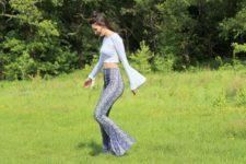 With light blue crop shirt