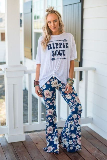 With loose t shirt and heels