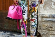 With metallic sweater, pink bag and golden shoes