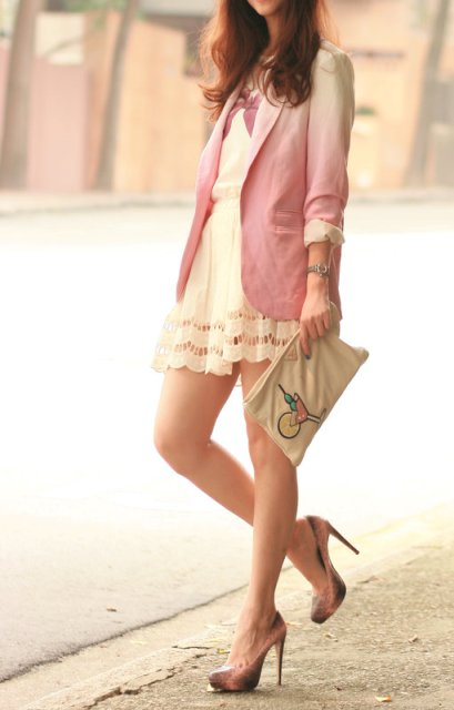 With mini dress, ombre shoes and clutch