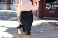 With pale pink loose blouse, two colored bag and beige pumps