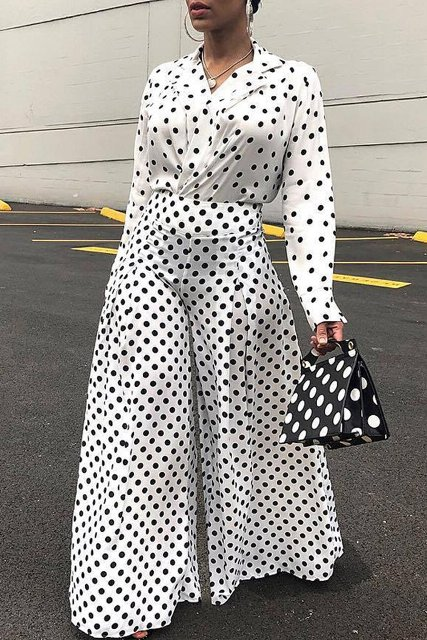 With polka dot wrapped blouse, polka dot bag and shoes