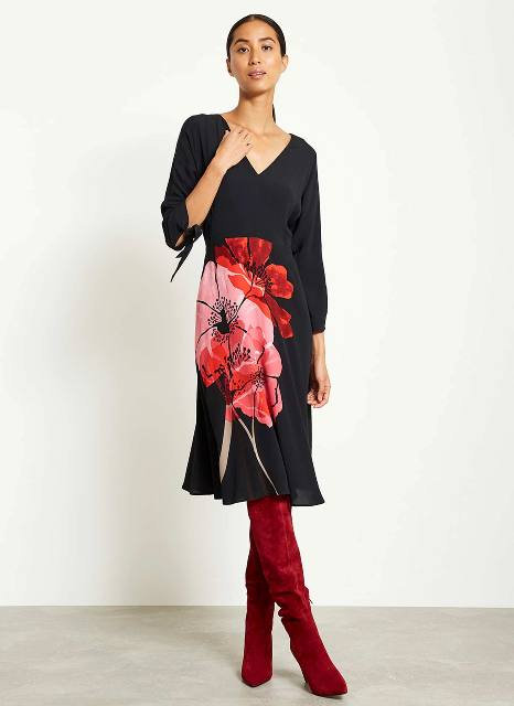 With red suede over the knee boots