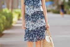 With straw tote bag and ankle strap sandals