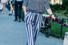 With striped loose shirt and sandals