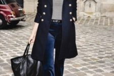 With striped shirt, navy blue coat, black tote bag and shoes
