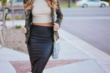With white crop top, checked jacket and beige shoes