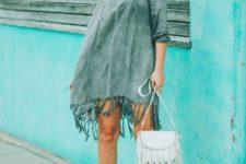 With white fringe bag and ankle strap platform sandals