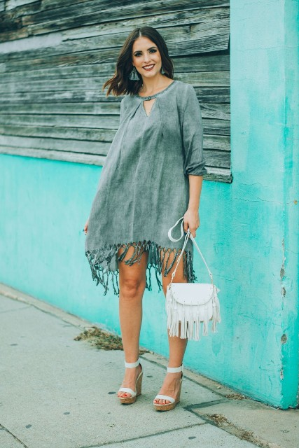 With white fringe bag and ankle strap platform sandals