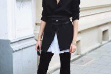 With white long shirt, black blazer and belt