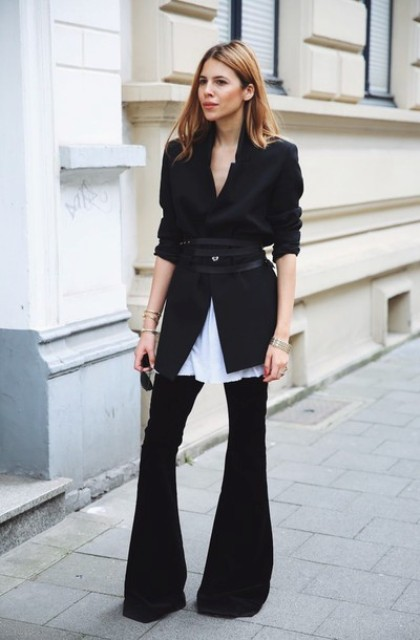 With white long shirt, black blazer and belt