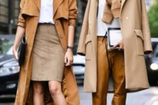 With white shirt, brown midi coat, printed pumps and clutch