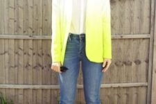With white shirt, cuffed jeans and yellow sandals